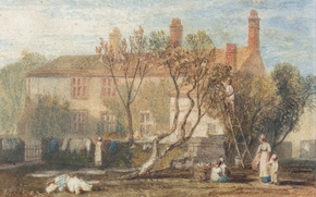 Picture landscape, house, people, picture, yard, watercolor, William Turner, Near Farnley, Steeton Manor House