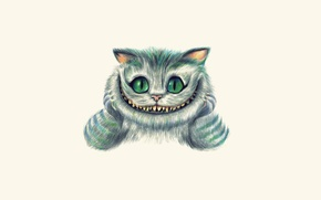 Picture face, smile, figure, art, Alice in Wonderland, painting, light background, Cheshire Cat, Cheshire Cat, Alice's …