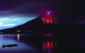 Picture fire, element, the volcano, lava, Sakurajima