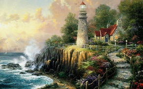 Wallpaper sea, wave, nature, house, open, lighthouse, track, stage, house, painting, cottage, art, sea, art, Thomas ...