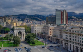 Picture area, Italy, panorama, Genoa, The Victory Arch