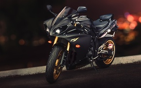 Picture Yamaha, black, front, Yamaha, YZF-R1, sport bike