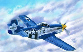 Picture clouds, figure, fighter, art, Mustang, action, American, period, single, far, radius, P - 51D - …