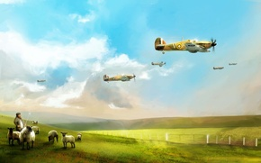 Picture the plane, art, British, Hawker Hurricane, interceptor, RAF, WW2, single-seat fighter, beautiful background, sky flight