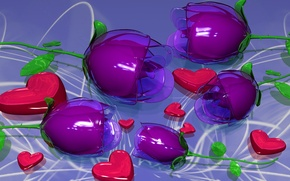 Picture glass, flowers, holiday, petals, plastic, heart, Valentin
