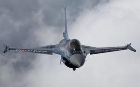 Wallpaper flight, fighter, F-16, General Dynamics F-16 Fighting Falcon, clouds