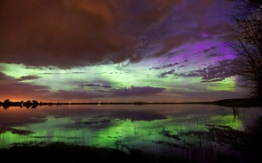 Picture the sky, clouds, Northern lights, glow, озеро0 reflection