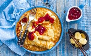 Wallpaper bananas, pancakes, cakes, jam, banana, pancakes