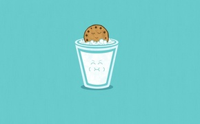 Wallpaper Minimalism, Art, Blue, Smile, A Glass Of Milk, Cookie