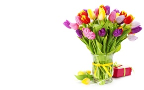 Picture greens, flowers, yellow, red, pink, gift, plant, bouquet, spring, tulips, vase