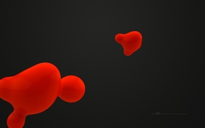 Picture minimalism, graphics, red, background, abstraction, black, liquid, weightlessness, love, spot