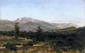 Picture road, trees, mountains, picture, cows, Carlos de Haes, The landscape in define