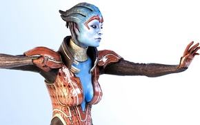 Picture costume, Mass Effect, stand, simple background, Samara