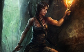 Picture water, girl, squirt, bow, art, torch, cave, Lara Croft, Tomb raider