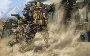 Picture mountains, figure, art, soldiers, helicopter, salvation, shootout, Afghanistan, wounded, friend