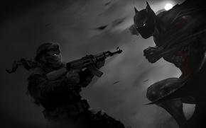 Picture batman, hero, art, AK-47, Kalash, criminal, Dark Knight