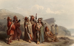 Picture picture, painting, painting, 1831, Karl Bodmer, Bodmer, Sauki and Musquake or Fox