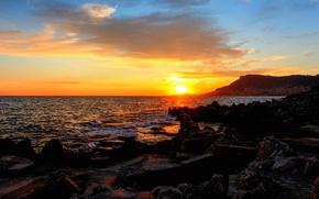 Picture sea, sunset, sunrise, stones, coast, Monaco, Monte-Carlo