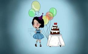 Wallpaper balls, cake, girl, birthday, holiday, blue, 10 years