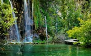 Wallpaper forest, lake, stones, rocks, waterfall, bridges, Croatia, Plitvice Lakes National Park