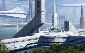 Picture ship, planet, station, Normandy, Mass Effect 3, fantastic. future. space