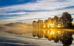 Picture light, landscape, river, morning