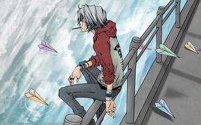 Picture water, anime, art, katekyo Hitman reborn, silver hair, vongola, paper airplanes, gokudera hayato