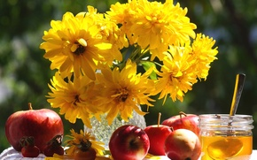 Picture autumn, flowers, holiday, apples, honey, still life, saved