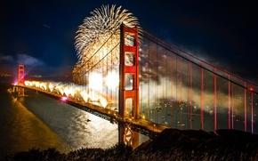 Picture Bridge, Golden, fireworks, celebration, Gate