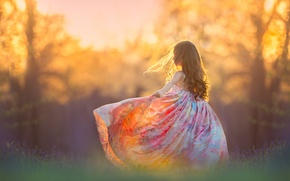 Picture girl, bokeh, mood, sundress, nature