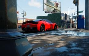 Picture street, traffic light, Ferrari, shield, Sunny, The Crew, Wild Run, 450 Italia