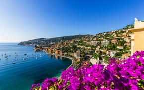 Picture sea, flowers, the city, coast, France