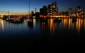 Picture sea, landscape, lights, boats, The city