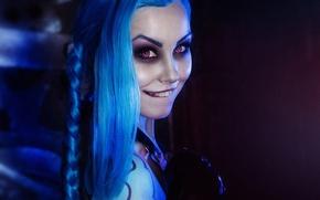 Picture look, girl, smile, treatment, teeth, makeup, purple, eyebrows, braid, style, render, blue hair, cosplay, cosplay, …