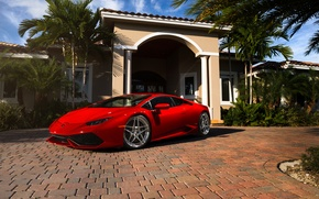 Picture Lamborghini, red, Miami, Florida, Huracan