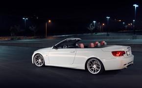 Picture white, night, BMW, BMW, white, 335i, E93, The 3 series