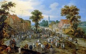 Picture landscape, home, picture, genre, Jan Brueghel the younger, Jan Brueghel the elder, Cattle Market in …