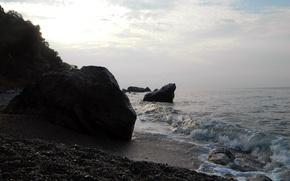 Picture the sky, pebbles, stones, wave, Sea Shore