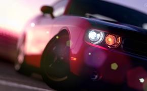 Picture Red, Lights, Dodge Challenger, Blur