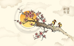 Picture flowers, birds, branch, figure, Sakura, the sun, characters