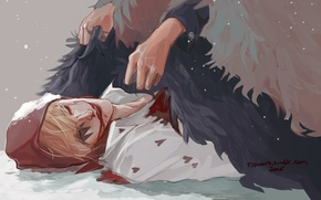 Picture blood, hat, feathers, hands, art, Anime, guy, Anime, One Piece, Big Jackpot, Corazon, Rocinante Donquixote