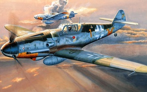 Picture figure, Messerschmitt, Air force, Luftwaffe, single-engine piston fighter-low, the most popular model BF-109, BF109 G-6