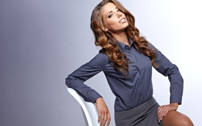 Picture look, girl, model, Izabela Magician, business suit, chair. pose