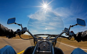 Picture road, the sun, nature, movement, view, speed, face, motorcycle, biker, bike, moto, bike, first, biker, ...