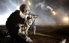 Picture soldier, night, firing, range