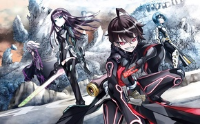 Picture smile, weapons, girls, anime, art, guy, Sousei no Onmyouji