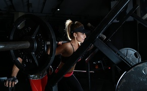 Wallpaper woman, gym, fitness, workout, barbell
