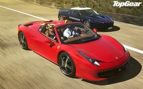 Picture blue, red, blonde, Lotus, Ferrari, Lotus, Ferrari, 458, italia, top gear, Italy, spider, and, supercars, …