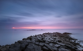 Picture sea, the sky, clouds, sunset, pink, shore, the evening, UK, calm, Northern Ireland