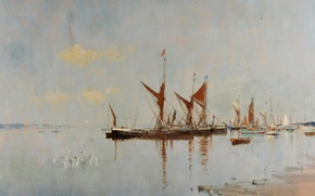Picture picture, seascape, Edward Seago, Barges at Anchor. Pin Mill